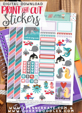 Under the Sea Print and Cut Planner Stickers