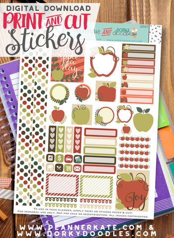 Apple Print and Cut Planner Stickers
