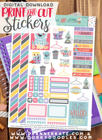 Chores Print and Cut Planner Stickers