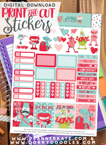 Robot Valentine Print and Cut Planner Stickers