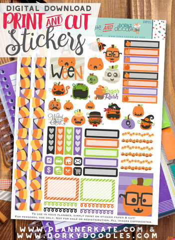 Jack-O-Lantern Print and Cut Planner Stickers