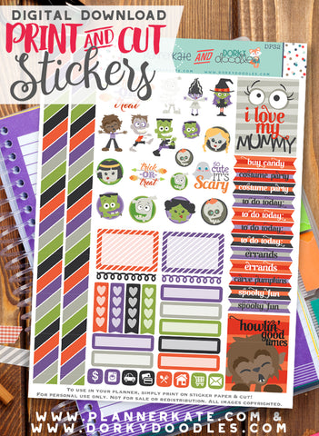 Halloween Monster Print and Cut Planner Stickers