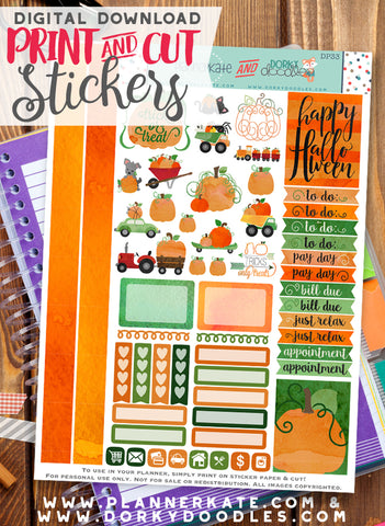 Watercolor Pumpkin Print and Cut Planner Stickers