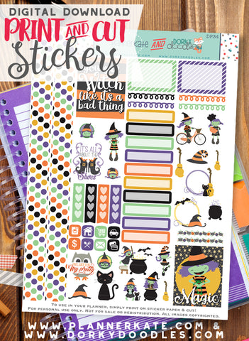 Witch Print and Cut Planner Stickers