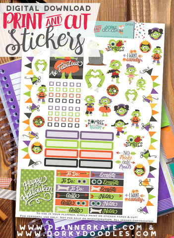 Zombie Print and Cut Planner Stickers