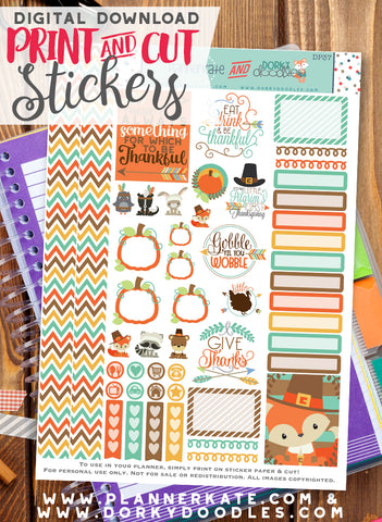 Thanksgiving Print and Cut Planner Stickers
