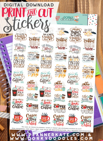 Coffee Print and Cut Planner Stickers