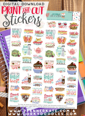 Baking Print and Cut Planner Stickers