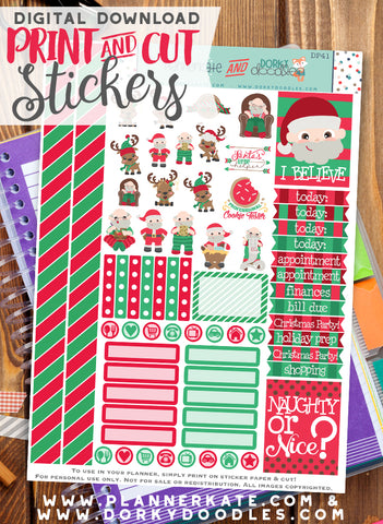 Christmas Santa Print and Cut Planner Stickers