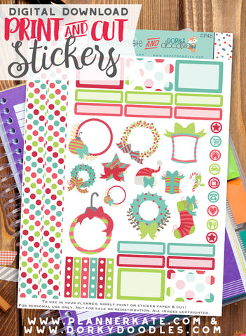 Pink and Green Holiday Print and Cut Planner Stickers