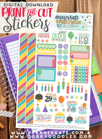 Happy Birthday Print and Cut Planner Stickers