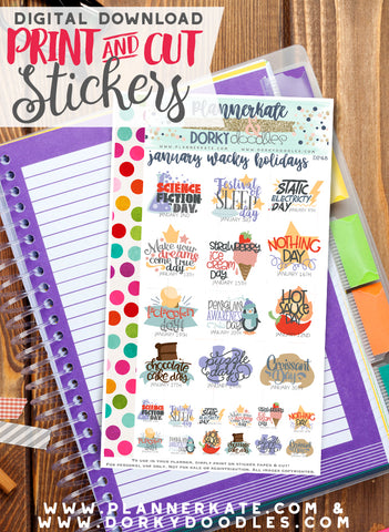 Wacky January Holiday Print and Cut Planner Stickers