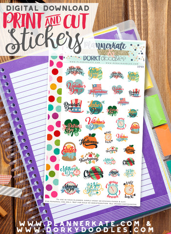 Major Holiday Print and Cut Planner Stickers