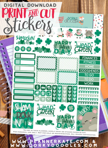 St. Patrick's Farm Print and Cut Planner Stickers