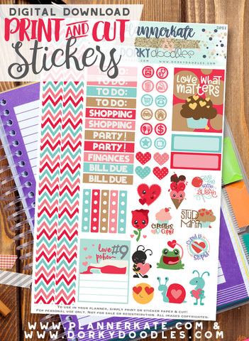 Kawaii Valentine Print and Cut Planner Stickers