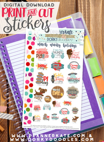 Wacky March Print and Cut Planner Stickers