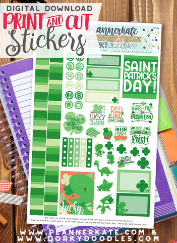 Shamrock Print and Cut Planner Stickers