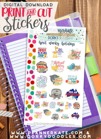 Wacky April Print and Cut Planner Stickers