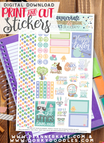 Cute Easter Print and Cut Planner Stickers