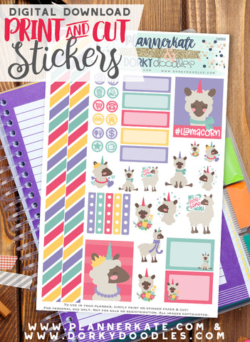 Llamacorn Print and Cut Planner Stickers