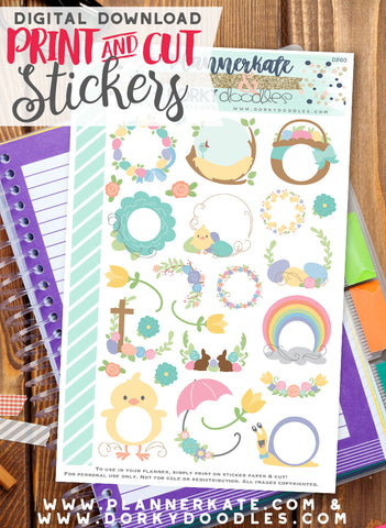Easter Frames Print and Cut Planner Stickers