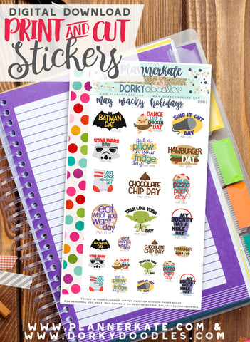 Wacky May Print and Cut Planner Stickers