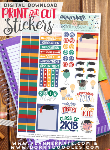Graduation 2018 Print and Cut Planner Stickers