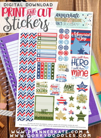 Military Hero Print and Cut Planner Stickers