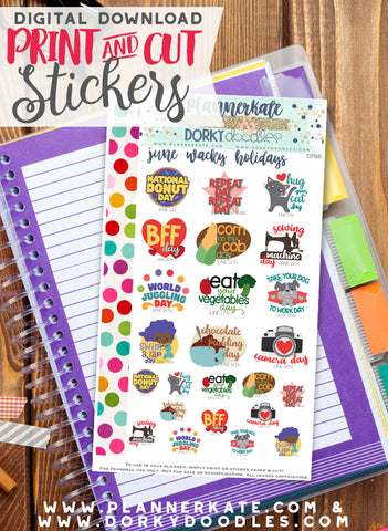 Wacky June Print and Cut Planner Stickers