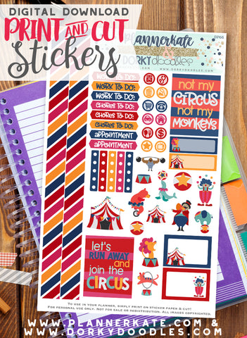 Circus Print and Cut Planner Stickers