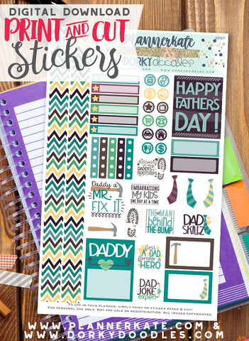 Father's Day Print and Cut Planner Stickers