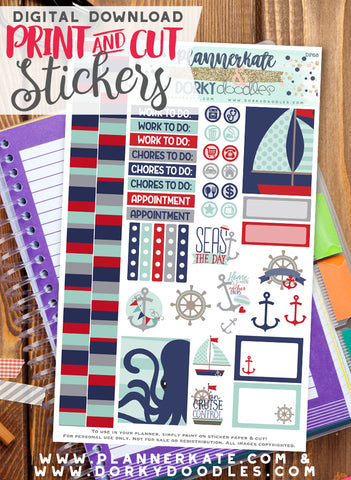 Nautical Print and Cut Planner Stickers