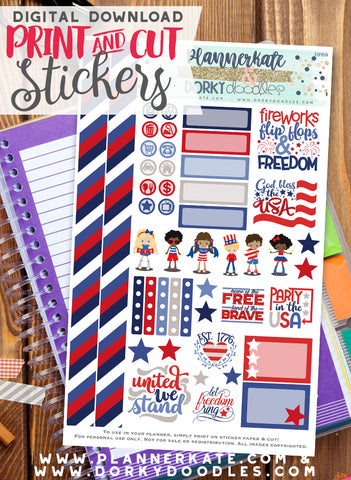 Patriotic Kids Print and Cut Planner Stickers