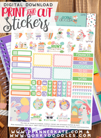 Easter Bunny Print and Cut Planner Stickers