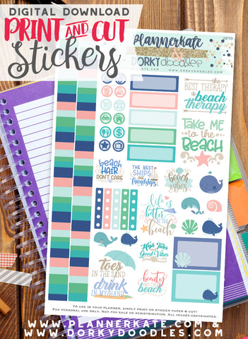 Beaches Print and Cut Planner Stickers