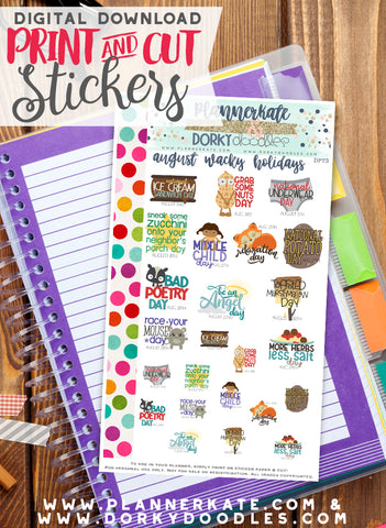 Wacky August Print and Cut Planner Stickers