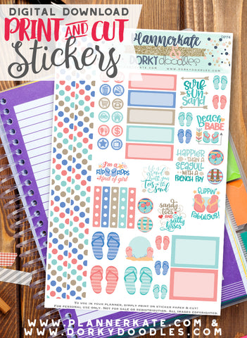 Flip Flops Print and Cut Planner Stickers
