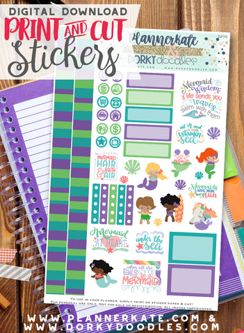 Mermaid Print and Cut Planner Stickers
