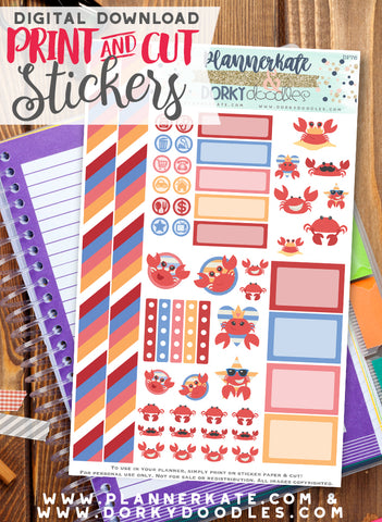 Crab Print and Cut Planner Stickers