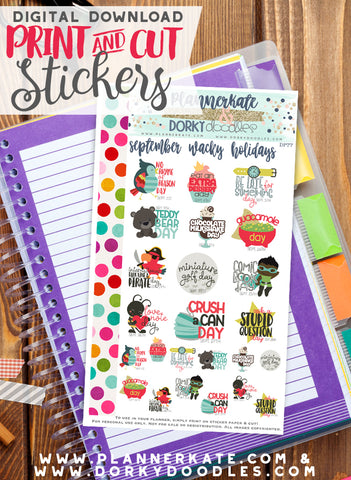 Wacky September Print and Cut Planner Stickers