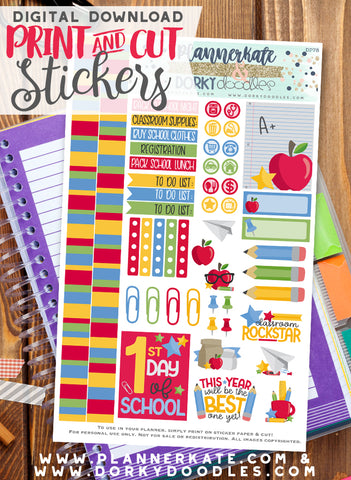 Back to School Print and Cut Planner Stickers