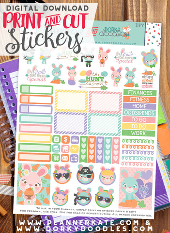 Cute Easter Bunny Print and Cut Planner Stickers