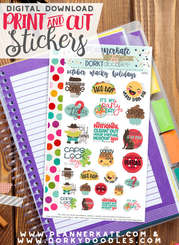 Wacky October Print and Cut Planner Stickers