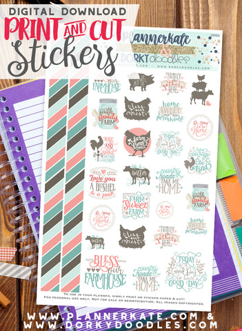 Farmhouse Print and Cut Planner Stickers