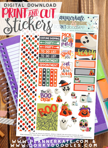 Cute Halloween Print and Cut Planner Stickers