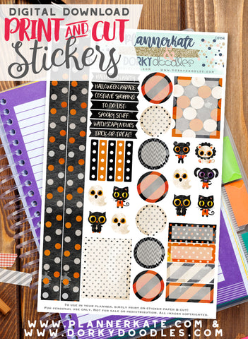 Watercolor Halloween Print and Cut Planner Stickers