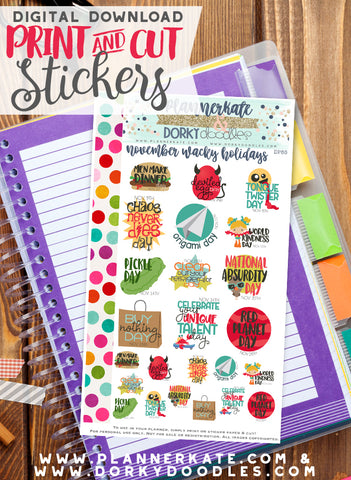 Wacky November Print and Cut Planner Stickers