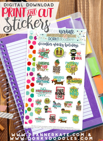 Wacky December Print and Cut Planner Stickers