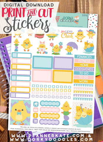 Easter Chick Print and Cut Planner Stickers
