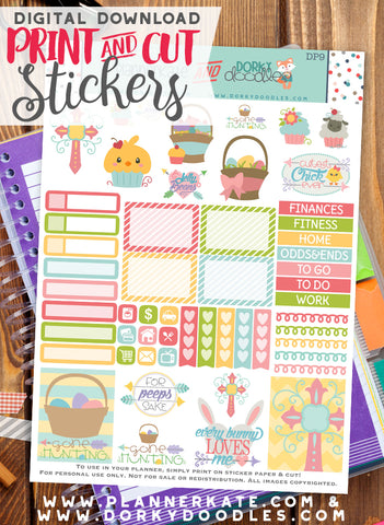 Easter Cupcake Print and Cut Planner Stickers